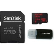 Sandisk Micro SDXC Ultra MicroSD TF Flash Memory Card 128GB 128G Class 10 for HTC Desire 500 Desire 600 dual 601 C HD Cell Phone w/ Everything But Stromboli Memory Card Reader