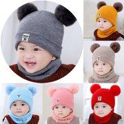 Newborn Kids Baby Boy Girl Pom Hat Winter Warm Knit Bobble Beanie Cap Scarf  Set 14b40c754810