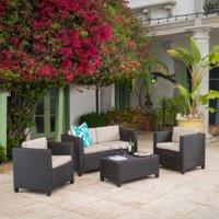 Raleigh Outdoor Wicker 4 piece Sofa Set, Multiple Colors