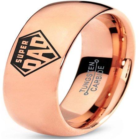 Tungsten Superhero Super Dad Emblem Symbol Band Ring 7mm Men Women Comfort Fit 18k Rose Gold Dome Polished (Superhero Wedding)