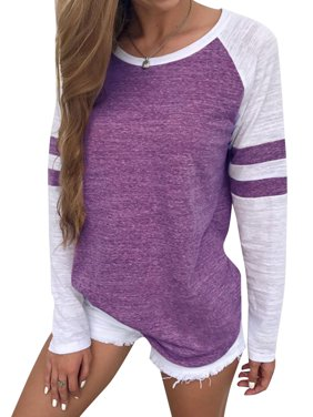 STARVNC Women Stripe Splice Long Sleeve Crew Neck Shirt