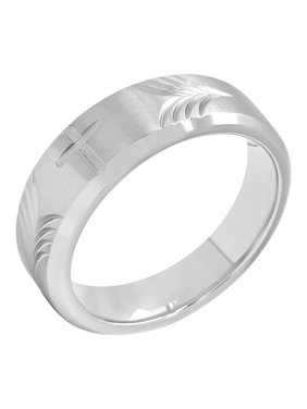 Product Image Men's 8MM Stainless Steel Tapered Cross Wedding Band – Mens Ring