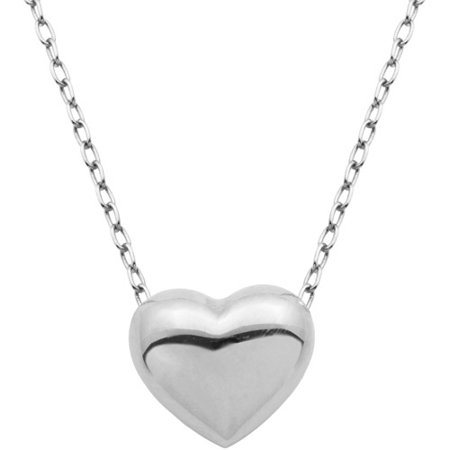 Sterling Silver Puffed Heart Pendant Necklace on Cable Chain, 18