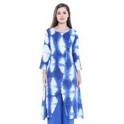 46ad9ccd14 In-Sattva Women's Indian Summer Tie Dye Print Flared Kurta Tunic