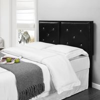 Addisyn Upholstered Headboard, Black Faux Leather, Full, With Crystal Tufs, (Metal Frame)