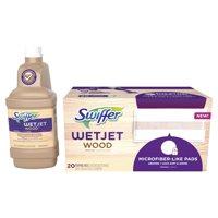 Swiffer WetJet Wood Mopping Solution Refill and 20 count Swiffer WetJet Mopping Pads