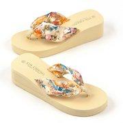 87451aa6da32 New Women Flip Flops Bohemia Floral Beach Sandals Platform Thongs Slippers