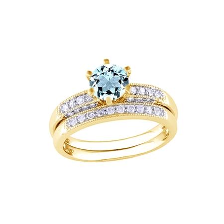 Simulated Aquamarine CZ & White Natural Diamond Wedding Ring Set In 10k Yellow Gold (0.33 -