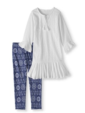 Girls' Crochet Trim Tunic and Capri Legging 2-Piece Set