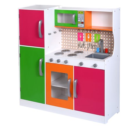 Costway Wood Kitchen Toy Kids Cooking Pretend Play Set Toddler Wooden Playset Gift