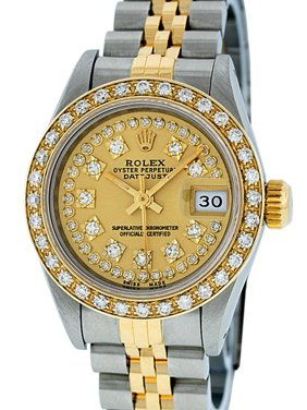 Pre-Owned Rolex Ladies Datejust Steel & 18K Yellow Gold Champagne String Diamond Watch Jubilee Quickset