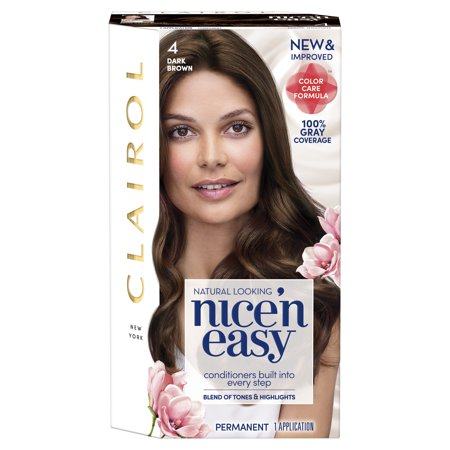 Clairol Nice 'n Easy Hair Color, 4 Dark Brown - Temporary Hair Dye Walmart
