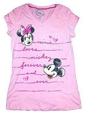 [P] Disney Womens' Classic Mickey & Minnie Mouse Pajama T Shirt Top - Pink (XL)