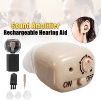 Mini In Ear Hearing Aids Amplifiers Kit Rechargeable Digital In visible Personal Sound Amplifier with Adjustable Volume Tone Control Voice Assisted Listening Device