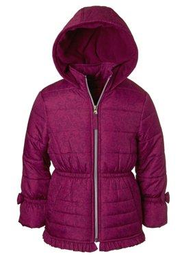 Product Image Pink Platinum Lace Print Bow Sleeve Puffer Jacket (Little Girls) Girls Coats \u0026 Jackets - Walmart.com