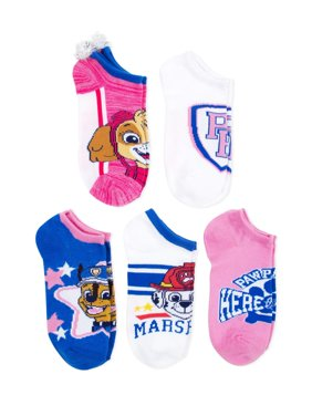 Paw Patrol No Show Socks, 5 Pairs (Little Girls & Big Girls)