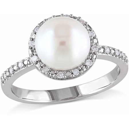 8-8.5mm White Button Cultured Freshwater Pearl and Diamond Accent Sterling Silver Halo Ring Diamond Pearl Fashion Ring