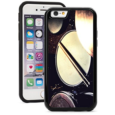 For Apple iPhone 6 6s Shockproof Impact Hard Soft Case Cover Drums And Drumsticks Lying On Snare Drum (Black)