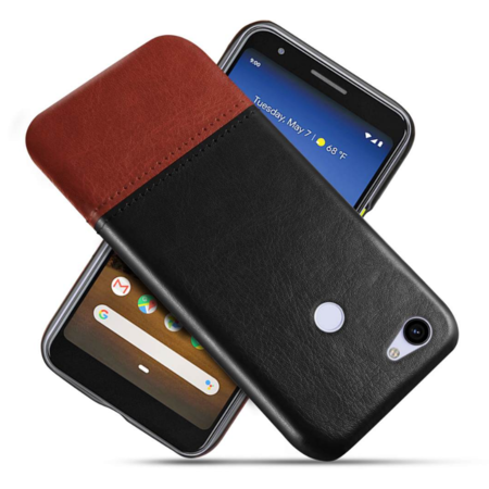 for Google Pixel 3a Case, Genuine Leather Card Holder Slot Wallet Case Cover for Google Pixel 3a XL, Slim Genuine Leather Shell Mobile Phone Protectors (Black), S10240