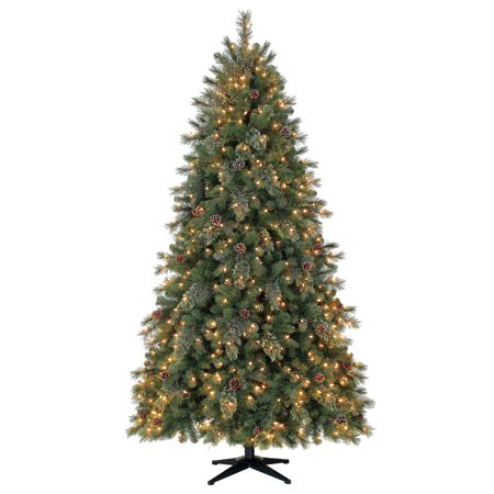 Holiday Time 7.5ft Pre-Lit Carson Pine Artificial Christmas Tree with 400  LED Clear - Holiday Time 7.5ft Pre-Lit Carson Pine Artificial Christmas Tree