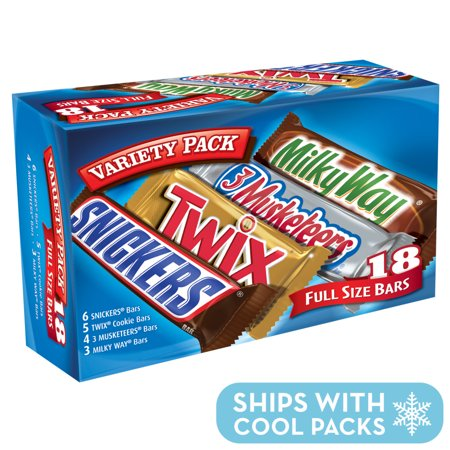 Mars Chocolate, Full Size Candy Bars Assorted Variety,(Milky Way, Twix, Snickers, 3 Musketeers), 33.31 Ounce, 18 Count