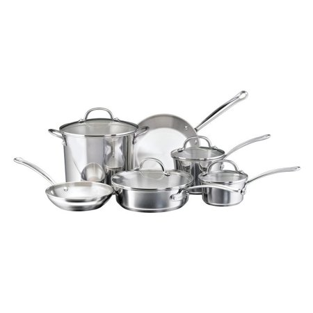Farberware Millennium Stainless Steel Cookware 10-Piece Set, Stainless Steel - 75653