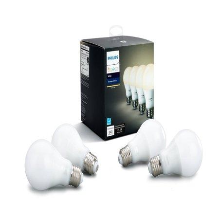 Philips Hue White A19 Smart Light Bulb, 60W LED, 4-Pack