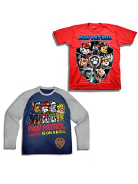 Short Sleeve Pawsome Graphic Tee with Long Sleeve Tee, 2-Pack Set Value Bundle (Little Boys)