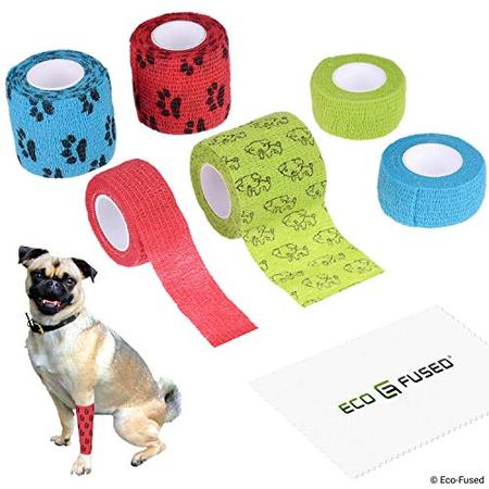 Self Adhering Bandage - Injury Wrap Tape for Dogs - Pack of 6 - Supports Muscles and Joints - Easy to Apply and Tear - Does not Stick to Hair