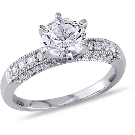 1-3/8 Carat T.G.W. Created White Sapphire and 1/4 Carat T.W. Diamond 10kt White Gold Engagement - White Gold Contour Engagement Ring