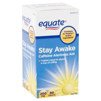 Equate Stay Awake Caffeine Alertness Aid Tablets, 200 mg, 80 count