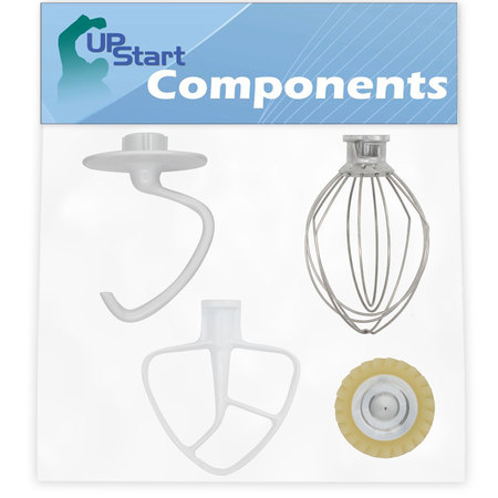 Beater Dough Hook Wire Whip - K45DH Dough Hook & K45B Flat Beater & K45WW Wire Whip & W10112253 Mixer Worm Gear Replacement for Whirlpool 4KSM150PSTG0 Mixer - Compatible with WPW10674618, W10672617, WP9704329 & W10112253