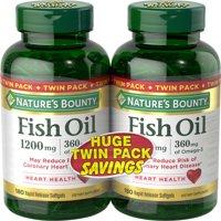 Nature's Bounty Fish Oil Omega-3 Softgels, 1200 Mg, 180 Ct, 2 Pack