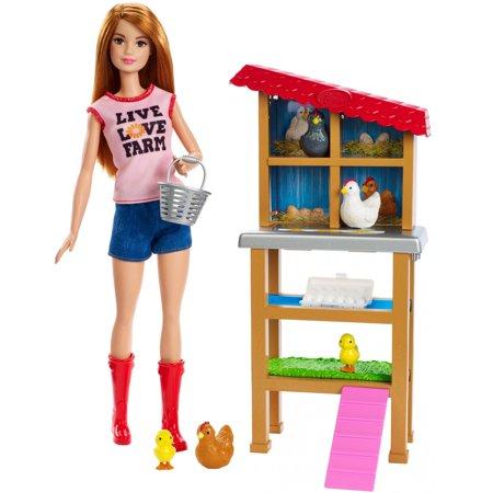 Barbie Careers Chicken Farmer Doll Chicken Coop Playset Walmart Com