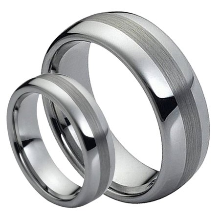 For Him & Her 8MM/6MM Tungsten Carbide Polished Dome Shape with Brushed Center Wedding Band Ring -
