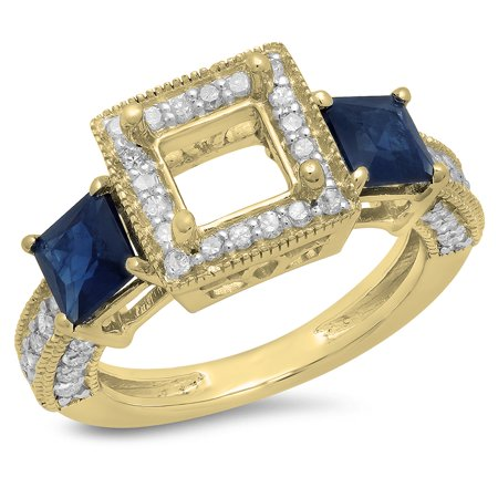 Dazzlingrock Collection 18K Princess Cut Blue Sapphire & Round White Diamond Semi Mount Engagement Ring, Yellow Gold, Size 4