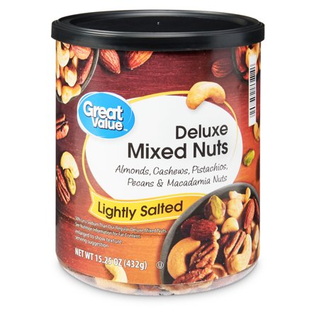 Great Value Roasted & Lightly Salted with Sea Salt Deluxe Mixed Nuts, 15.25 - Mixed Nuts