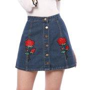 bc8ec7dce7 Unique Bargains Women's Rose Floral Applique ButtonA-Line Denim Skirt