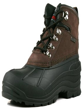 OwnShoe Mens Leather Waterproof Insulated Snow Duck Boots