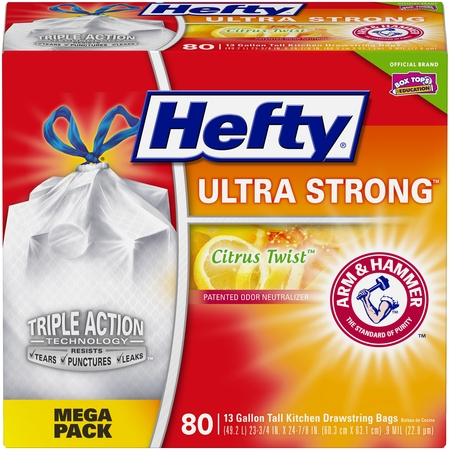 Hefty Ultra Strong Tall Kitchen Trash Bags, Citrus Twist, 13 Gallon, 80 (Air Max 90 Ultra 2-0 Flyknit Oreo)