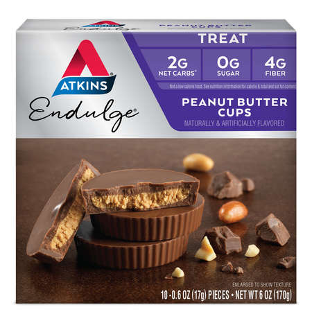 Atkins Endulge Chocolate Peanut Butter Cups, 10 - 0.60oz, 5-servings (Treat) (Double Chocolate Peanut Butter)
