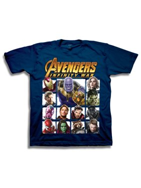 Avengers Infinity War Boys' Superhero Character Panels with Thanos Short Sleeve Graphic T-Shirt