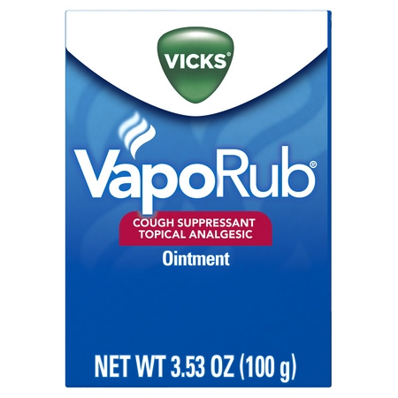 Vicks VapoRub Original Cough Suppressant Topical Analgesic Ointment 3.53 oz, Best used for relief from cold symptoms, aches, and