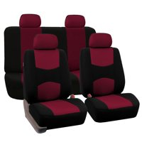 FH Group Universal Flat Cloth Fabric Full Set Car Seat Cover, Burgundy and Black