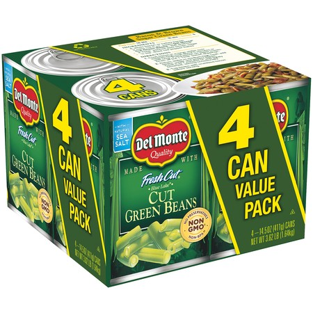 (8 Cans) Del Monte Fresh Cut Blue Lake Cut Green Beans, 14.5 oz