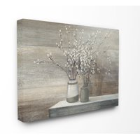 The Stupell Home Decor Collection Pussy Willow Still Life Oversized Stretched Canvas Wall Art