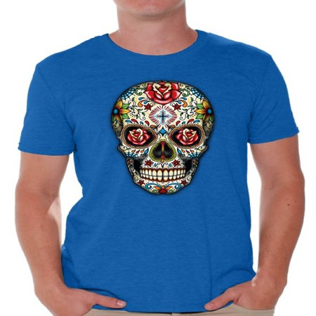 Awkward Styles Sugar Skull Roses T-shirt skull shirts mens skull shirts day of dead costume t shirt dia de Los Muertos costume t shirt sugar skull candy skull costume t shirt skull for men Mexican - Dia De Los Muertos Hello Kitty