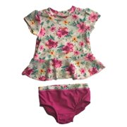 61ed94e003 Infant Girls Pink Floral 2 Pc Rashguard Swimming Suit Baby Swimwear