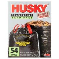 Husky Drawstring Black Yard Bag, 39 Gallon, 54 Count