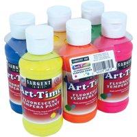 Sargent Art Fluorescent Tempera Paint, 6pk, Assorted Colors